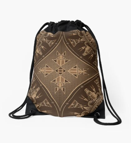 Buffalo Gathering Brown Drawstring Bag