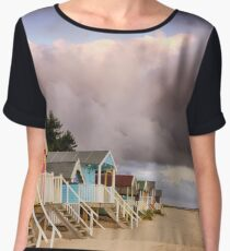 Colourful beach huts on golden sand coast Women's Chiffon Top