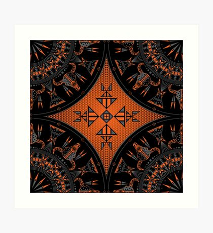Buffalo Gathering Orange Art Print