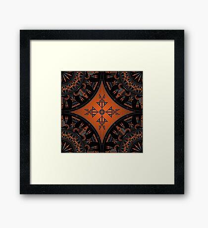 Buffalo Gathering Orange Framed Print