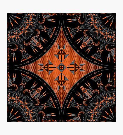 Buffalo Gathering Orange Photographic Print