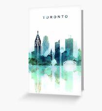 Toronto Watercolor Blue Skyline Greeting Card