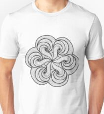 Doodle style hand-drawn round mandala print. Black white, colorless design T-Shirt