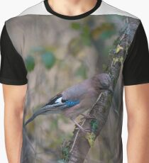 Closeup of a beautiful Eurasian Jay with bright colorful feathers sitting on a tree Graphic T-Shirt