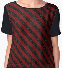 STRIPES3 BLACK MARBLE & RED GRUNGE Women's Chiffon Top