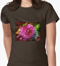 Hot pink silky rose flower Womens Fitted T-Shirt