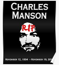 Charles Manson - RIP - Graphic - Macabre Pop Culture  Poster