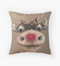 Cojín Rudolph Red Nose Reindeer Pintura al óleo de Angela Brown Art
