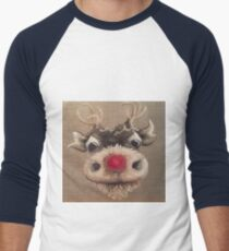 Rudolph Red Nose Reindeer Oil Painting by Angela Brown Art Men's Baseball ¾ T-Shirt