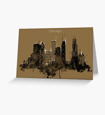 Chicago Pencil Skyline  Greeting Card