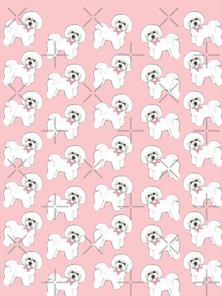 Bichon Frise dog,  pink dog bows, christmas gift for her, girls gift, bichon frise tote bag, ,  by MagentaRose