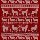 Ugly Christmas sweater dog edition - Belgian shepherd red by Camilla Mikaela Häggblom