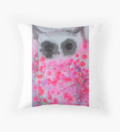 Pink Owl Throw Pillow