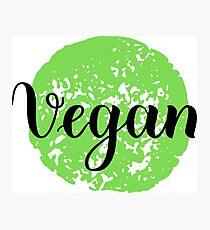 Vegan Handwritten lettering element for labels, logos, badges, stickers or icons. Vegan, vegetarian Photographic Print