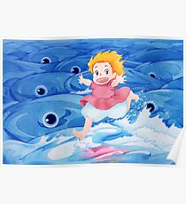 Ponyo Runs on Water with the Big Fishes - Ghibli Poster