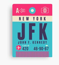 Retro Airline Luggage Tag - JFK Airport New York USA Canvas Print