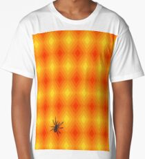 Spider on psychedelic orange diamond pattern Long T-Shirt