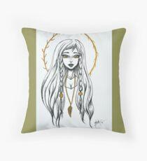 Sacred Feather Goddess Throw Pillow