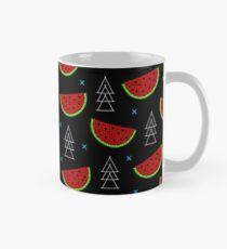 Tropical mosaic watermelon design on black background Mug