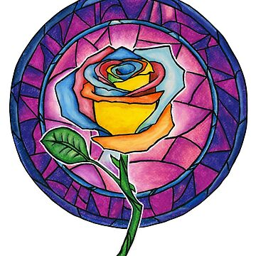 Stained Glass Rainbow Rose by PinkCarmine