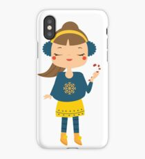 Cute Christmas girl holdig candy cane iPhone Case/Skin