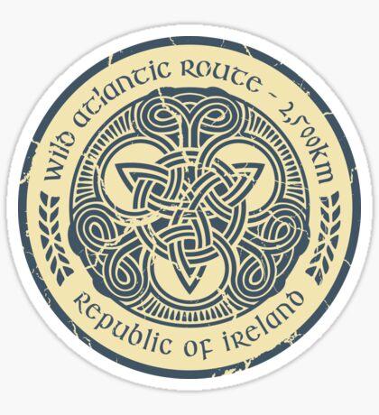 Wild Atlantic Route, Ireland - Celtic Triskele Knot -  Blue/Beige Sticker
