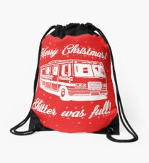 National Lampoons Christmas  - Shitter Was Full (Red) Drawstring Bag