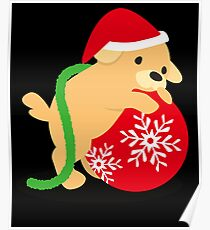 Puppy On Christmas Ornament Stocking Stuffer Gift Poster