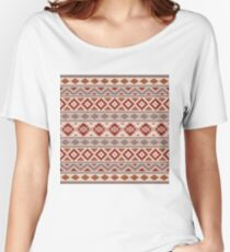 Aztec Essence Pattern IIIb Taupe Creams Terracotta Women's Relaxed Fit T-Shirt