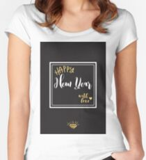 Happy New Year with love. Vector illustration. Women's Fitted Scoop T-Shirt