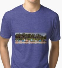 Beach hut row on the Norfolk coast Tri-blend T-Shirt