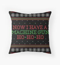 Die Hard Now I Have A Machine Gun Ugly Christmas Sweater Throw Pillow