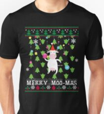 Funny Cow Christmas Sweater T Shirts Gifts-Merry Moo-mas for Women Men Unisex T-Shirt