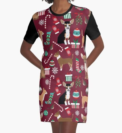 Chihuahua christmas presents dog breed stockings candy canes mittens  Graphic T-Shirt Dress