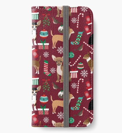 Chihuahua christmas presents dog breed stockings candy canes mittens  iPhone Wallet