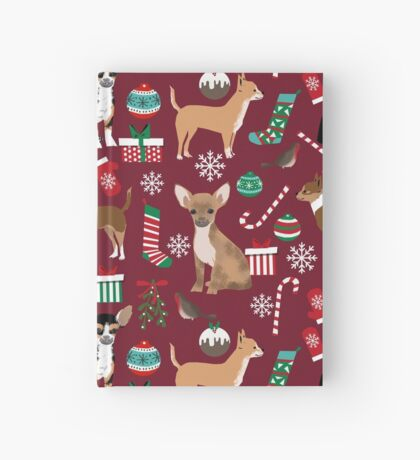 Chihuahua christmas presents dog breed stockings candy canes mittens  Hardcover Journal