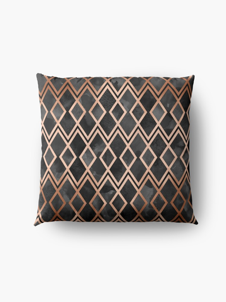 Alternate view of Copper & Black Geo Diamonds Floor Pillow