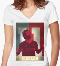 Mo Salah   Liverpool FC Women's Fitted V-Neck T-Shirt