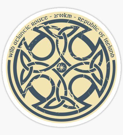 Wild Atlantic Route, Ireland - Celtic Cross - Blue/Beige Sticker