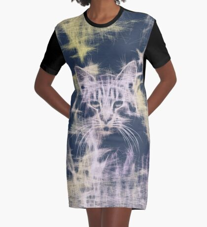 Linify Cat Graphic T-Shirt Dress