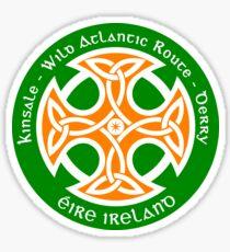 Wild Atlantic Route, Ireland - Celtic Cross - Irish Flag Colors Sticker