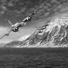 RAF Mosquitos in Norway fjord attack B&W version by Gary Eason