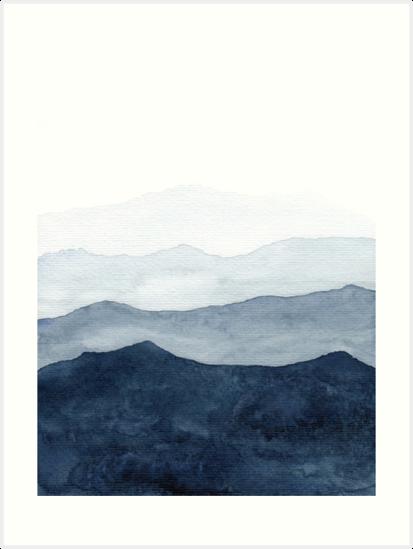 Mountains Ombre | Indigo Abstract Watercolor by ChipiArtPrints