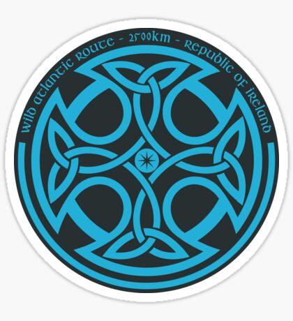 Wild Atlantic Route, Ireland - Celtic Cross - Blue/Graphite Sticker