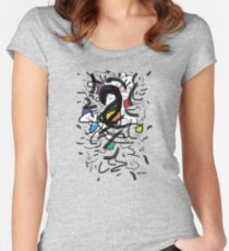 2509 - Black and White with Colorful Spots Women's Fitted Scoop T-Shirt