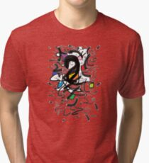 2509 - Black and White with Colorful Spots Tri-blend T-Shirt