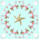 Flamingo Circle Starfish Sand Dollars Design by ClarasDesk
