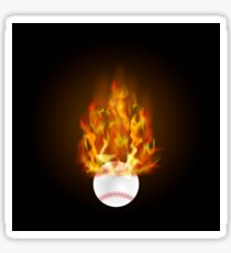 Burning Baseball Ball with Fire Flame Isolated on Black Background Sticker