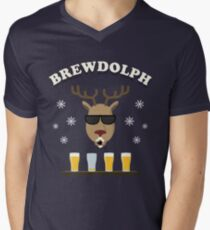 Brewdolph Christmas Reindeer Brew Dolph Men's V-Neck T-Shirt