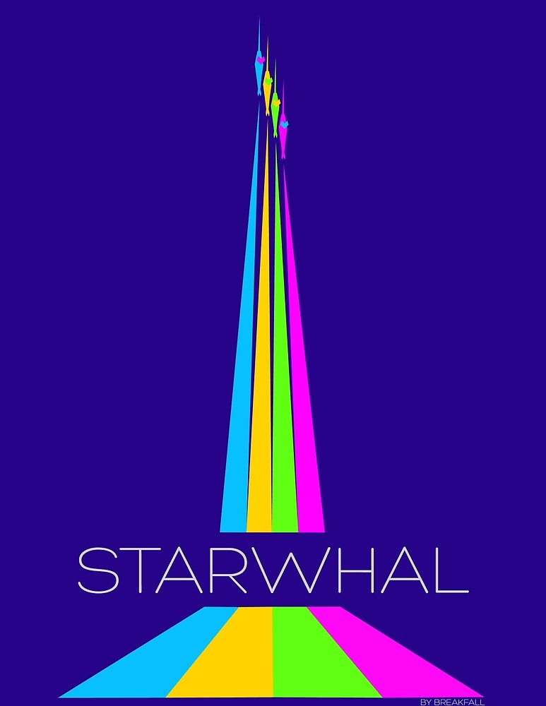 STARWHAL by Breakfall - Flying starwhals poster by Breakfall